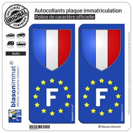 2 Autocollants plaque immatriculation Auto F France Blason - Identifiant Européen