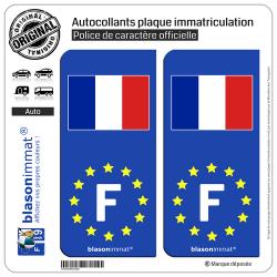2 Autocollants plaque immatriculation Auto F France Drapeau - Identifiant Européen