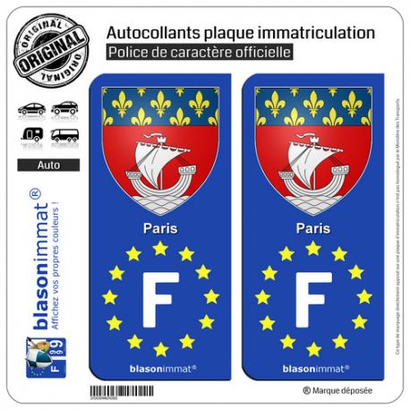 2 Autocollants plaque immatriculation Auto F Paris Armoiries - Identifiant Européen
