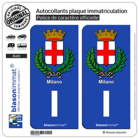 2 Autocollants plaque immatriculation Auto I Milan Armoiries - Identifiant Européen