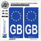 2 Autocollants plaque immatriculation Auto GB Grande-Bretagne - Identifiant Euopéen