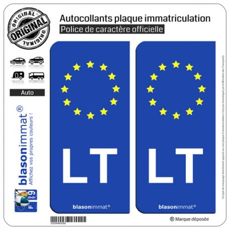 2 Autocollants plaque immatriculation Auto LT Lituanie - Identifiant Européen