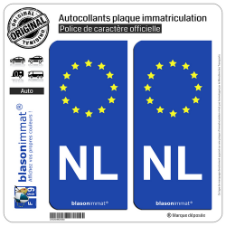 2 Autocollants plaque immatriculation Auto NL Pays-Bas - Identifiant Européen