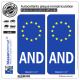 2 Autocollants plaque immatriculation Auto AND Andorre Identifiant - Européen