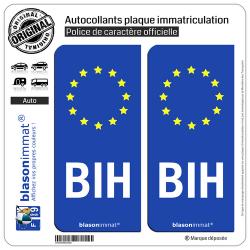 2 Autocollants plaque immatriculation Auto BIH Bosnie-Herzégovine - Identifiant Européen