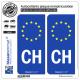 2 Autocollants plaque immatriculation Auto CH Suisse - Identifiant Européen