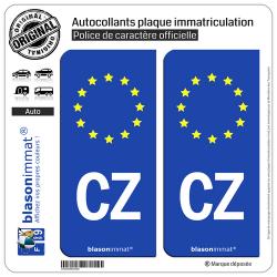 2 Autocollants plaque immatriculation Auto CZ Tchéquie - Identifiant Européen