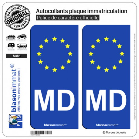 2 Autocollants plaque immatriculation Auto MD Moldavie - Identifiant Européen