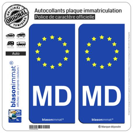 2 Autocollants plaque immatriculation Auto MD Moldavie - Identifiant Européen