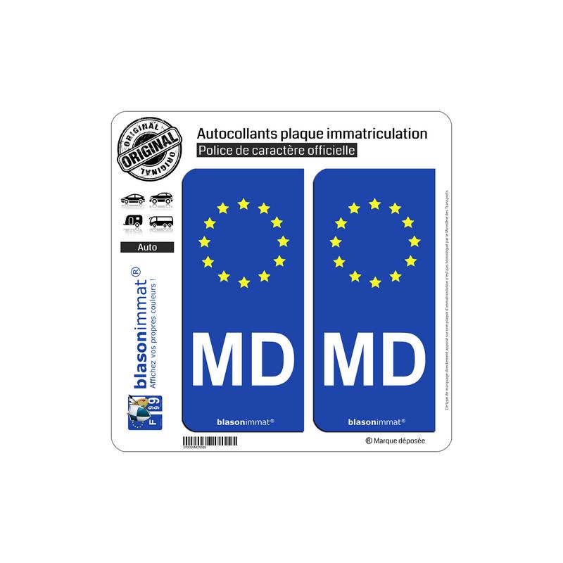 autocollant plaque immatriculation md moldavie identifiant europeen. Black Bedroom Furniture Sets. Home Design Ideas