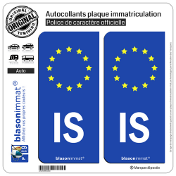 2 Autocollants plaque immatriculation Auto IS Islande - Identifiant Européen