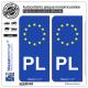 2 Autocollants plaque immatriculation Auto PL Pologne - Identifiant Européen