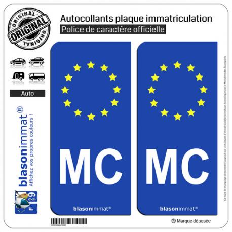 2 Autocollants plaque immatriculation Auto MC Monaco - Identifiant Européen
