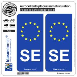 2 Autocollants plaque immatriculation Auto SE Savoie - Identifiant Européen