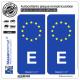 2 Autocollants plaque immatriculation Auto E Espagne - Identifiant Européen