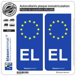 2 Autocollants plaque immatriculation Auto EL Alsace - Identifiant Européen