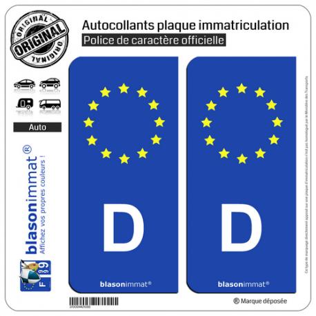 2 Autocollants plaque immatriculation Auto D Allemagne - Identifiant Européen