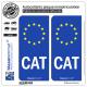 2 Autocollants plaque immatriculation Auto CAT Catalogne - Identifiant Européen