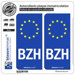 2 Autocollants plaque immatriculation Auto BZH Breizh - Identifiant Européen