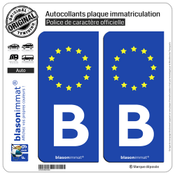 2 Autocollants plaque immatriculation Auto B Belgique - Identifiant Européen
