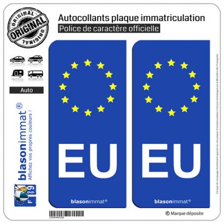 2 Autocollants plaque immatriculation Auto EU Union Européenne - Identifiant Européen