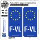 2 Autocollants plaque immatriculation Auto F-VL Flandre Française - Identifiant Européen