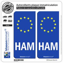 2 Autocollants plaque immatriculation Auto HAM Radioamateur - Identifiant Européen