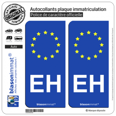 2 Autocollants plaque immatriculation Auto EH Pays Basque - Identifiant Européen