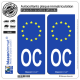 2 Autocollants plaque immatriculation Auto OC Occitanie - Identifiant Européen