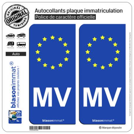 2 Autocollants plaque immatriculation Auto MV Morvan - Identifiant Européen