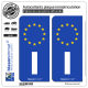 2 Autocollants plaque immatriculation Auto I Italie - Identifiant Européen