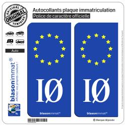 2 Autocollants plaque immatriculation Auto IO Ile d'Oléron - Identifiant Européen
