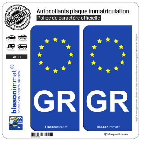 2 Autocollants plaque immatriculation Auto GR Grèce - Identifiant Européen