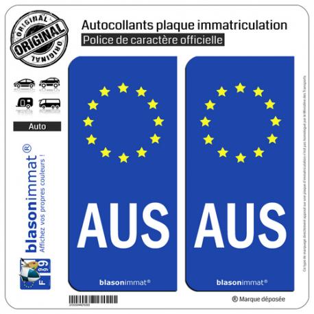 2 Autocollants plaque immatriculation Auto AUS Australie Identifiant - Européen