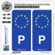 2 Autocollants plaque immatriculation Auto P Portugal - Identifiant Européen