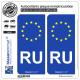 2 Autocollants plaque immatriculation Auto RU Russie - Identifiant Européen