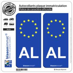 2 Autocollants plaque immatriculation Auto AL Albanie Identifiant - Européen