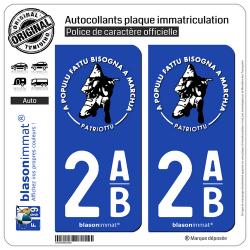 2 Autocollants plaque immatriculation Auto 2AB Ribellu Corse - Patriottu