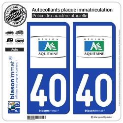 2 Autocollants plaque immatriculation Auto 40 Aquitaine - Tourisme