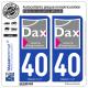 2 Autocollants plaque immatriculation Auto 40 Dax - Ville