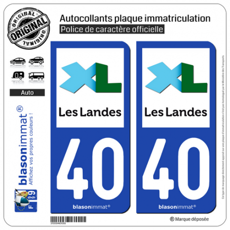2 Autocollants plaque immatriculation Auto 40 Landes - Département