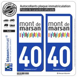 2 Autocollants plaque immatriculation Auto 40 Mont de Marsan - Agglo