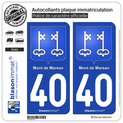 2 Autocollants plaque immatriculation Auto 40 Mont de Marsan - Armoiries