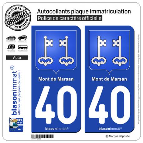 2 Autocollants plaque immatriculation Auto 40 Mont de Marsan - Armoiries
