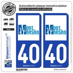 2 Autocollants plaque immatriculation Auto 40 Mont de Marsan - Ville