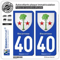 2 Autocollants plaque immatriculation Auto 40 Biscarrosse - Armoiries
