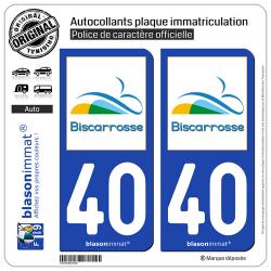 2 Autocollants plaque immatriculation Auto 40 Biscarrosse - VIlle