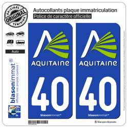 2 Autocollants plaque immatriculation Auto 40 Aquitaine - Nostalgie