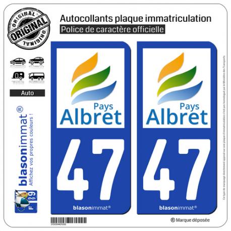 2 Autocollants plaque immatriculation Auto 47 Albret - Pays