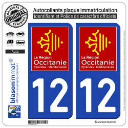 2 Autocollants plaque immatriculation Auto 12 Occitanie - LogoType